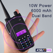 KSUN H2 Walkie Talkie H5 10W de alta potencia de doble banda de mano bidireccional Ham Radio Communicator HF Transceiver Amateur Handy