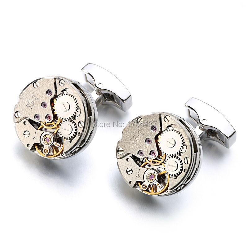 Non Functional Watch Movement Cufflinks stainless steel Steampunk Gear Watch Mechanism Cuff links for Mens cuffs