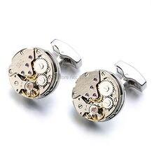 Non-Functional Watch Movement Cufflinks stainless steel Steampunk Gear Watch Mechanism Cuff links for Mens cuffs Relojes gemelos