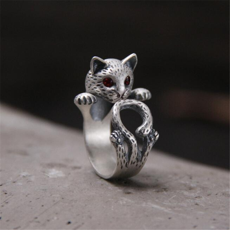 New Fashion Animal Ring 925 Silver Hippie Vintage Anel Punk Kitty Wedding Ring Boho Chic Retro Cat Rings for Women Party Rings in Rings from Jewelry Accessories