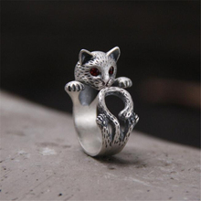 New Fashion Animal Ring 925 Silver Hippie Vintage Anel Punk Kitty Wedding Boho Chic Retro Cat Rings for Women Party