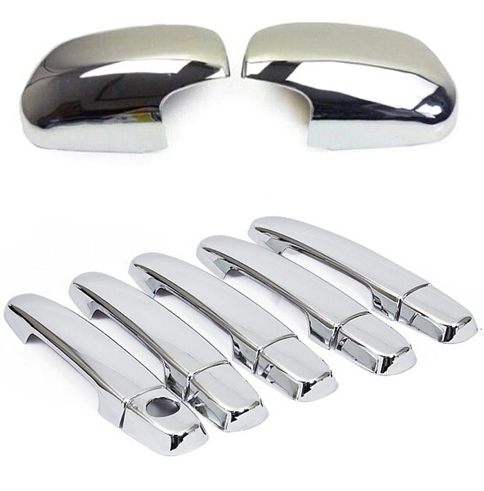 2in1 Chrome Side Wing Rearview Mirror Door Handle Cover For Toyota RAV4 2009 2010 2011 2012