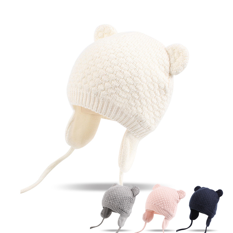 Cotton Soft Newborn Baby Hat Cute Infant Girls Beanie Knitted Ear Protect Hat For Baby Boys Girls Autumn Winter Warm Baby Hat