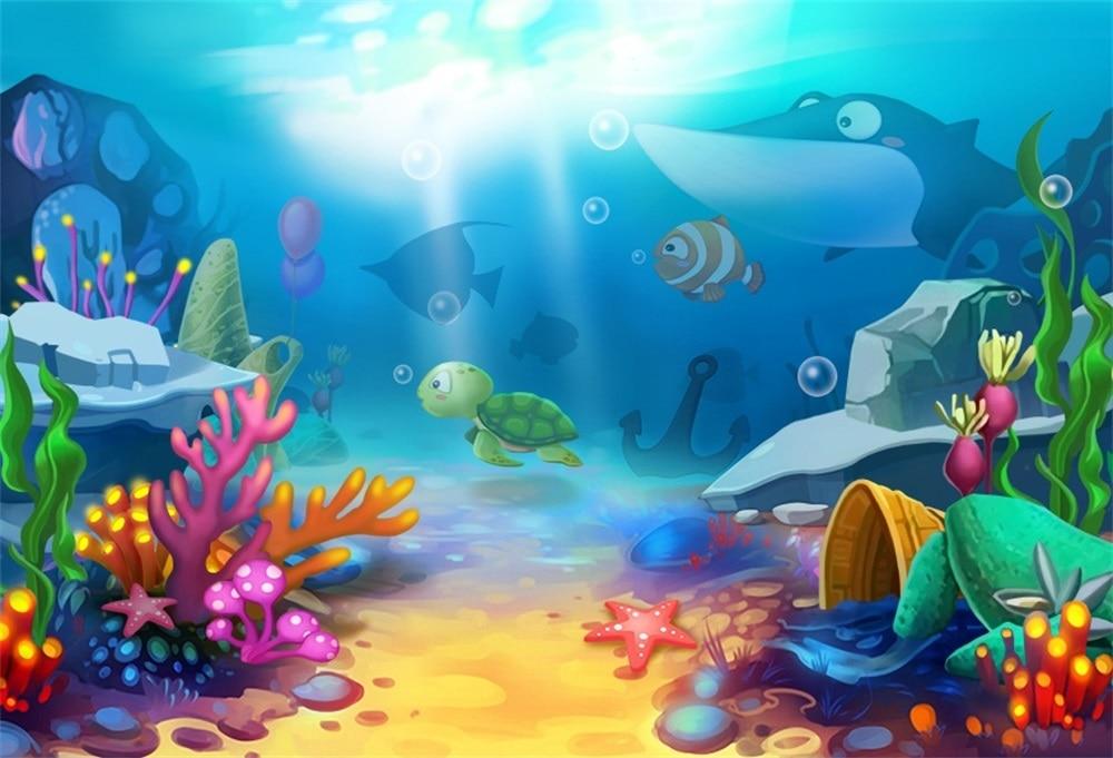 Laeacco Baby Cartoon Blue Sea Fish Coral Shark Underwater ...
