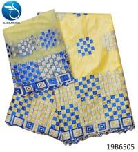 LIULANZHI african dubai tissu bazin riche getzner with embroidery lace nigerian dress cotton material 7yards/lot 19B65