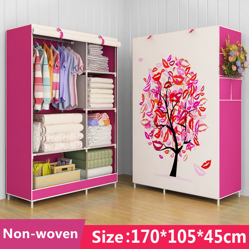 Simple Non-woven DIY Wardrobe Closet Dormitory Folding Storage Cabinet Dust-proof simple fashion moistureproof sealing thick oxford fabric cloth wardrobe rustproof steel pipe closet 133d