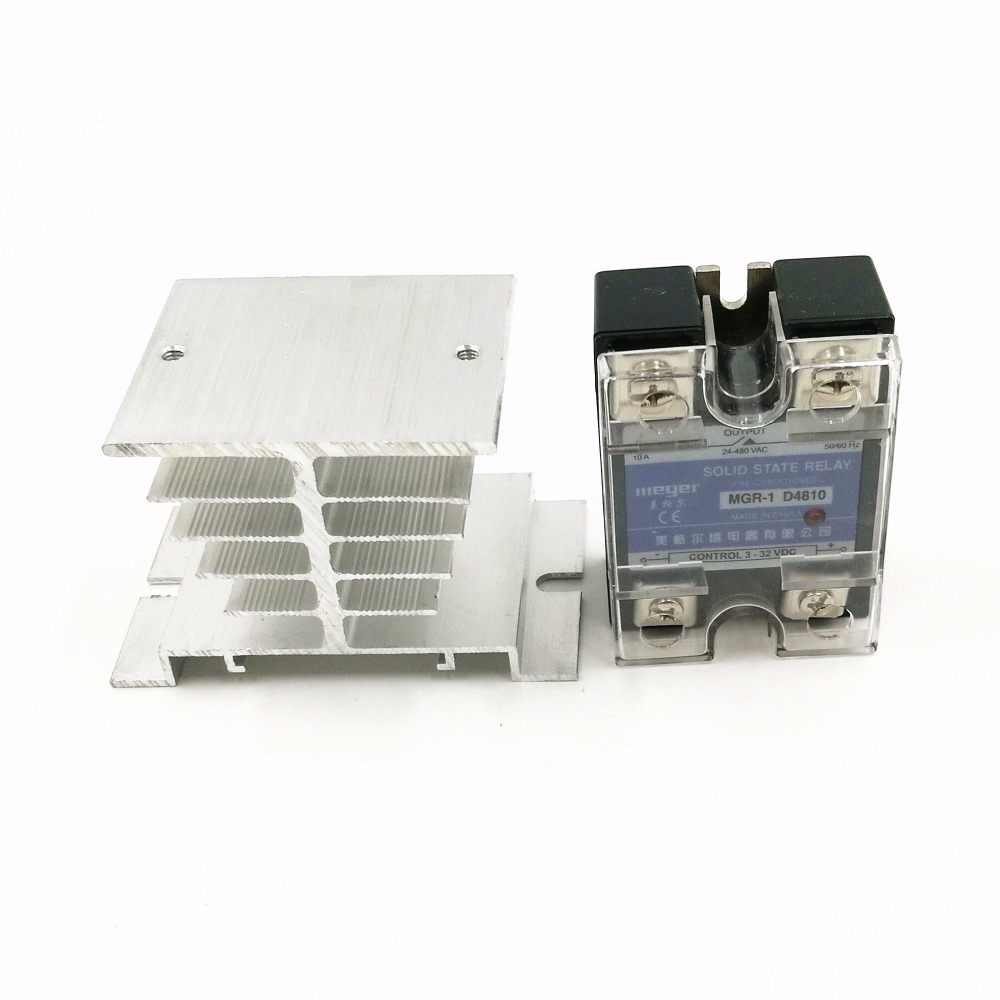 10pcs/lot  Normally Open Single Phase Solid State Relay SSR MGR-1 D4810 10A DC Control AC DC-AC  With Radiator base 5pcs lot normally open single phase solid state relay ssr mgr 1 a4840 40a ac ac control voltage 70 280v ac