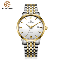 STARKING Chinese Brand Two Tone Gold Case Mechanical Automatic Men's Wrist Watch Full Steel Men Watches Simple Male Clock AM0194
