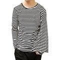 Novos homens T-shirt duas maneiras de desgaste assimétrico listrado manga longa t shirt moda masculina slim fit camisas t stage trajes a417