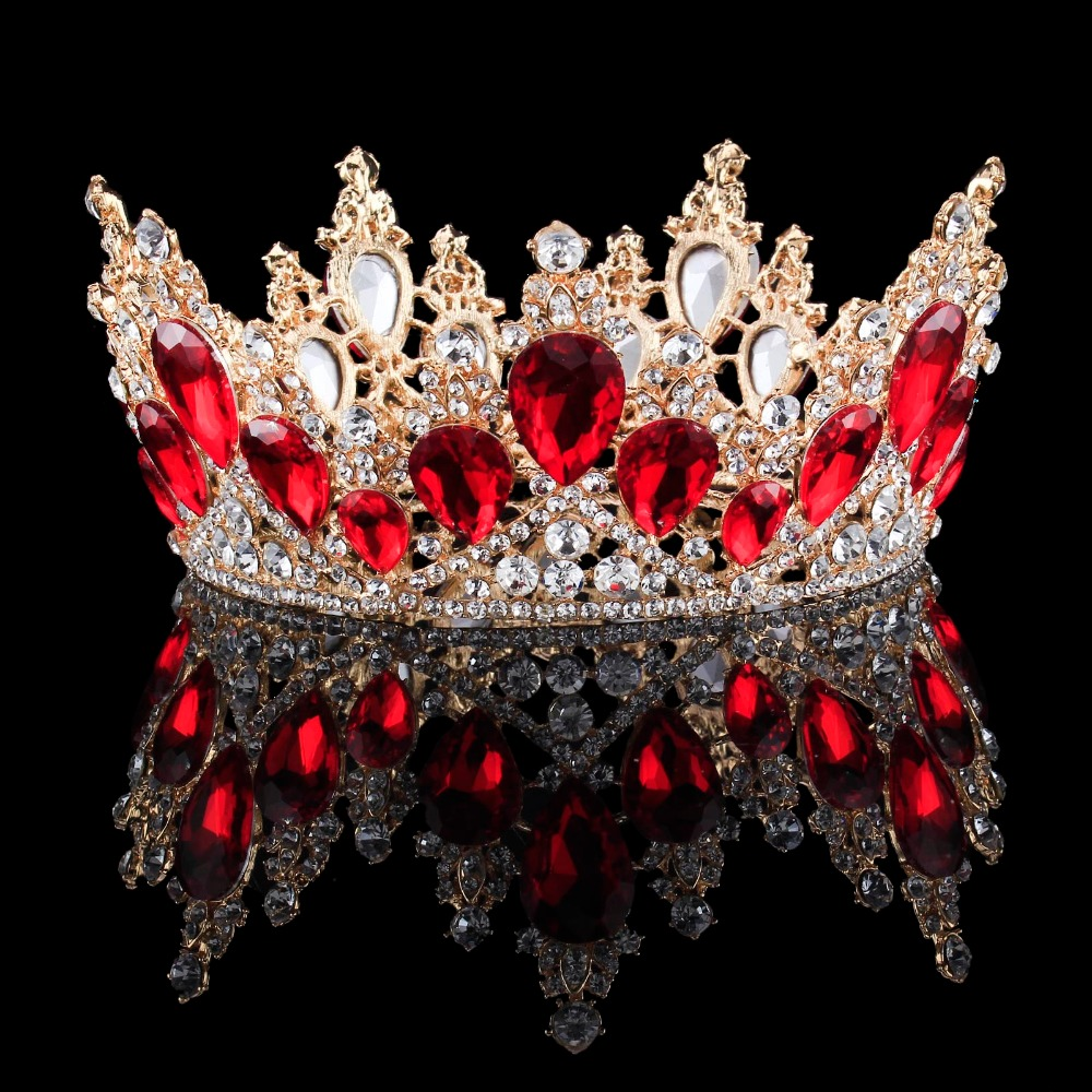 2018 New Fashion Baroque Luxury Crystal Bridal Crown Tiaras Light Gold Diadem Tiaras for Women Bride Wedding Hair Accessories 02 red gold bride wedding hair tiaras ancient chinese empress hair piece 02