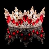2018 New Fashion Baroque Luxury Crystal Bridal Crown Tiaras Light Gold Diadem Tiaras for Women Bride Wedding Hair Accessories