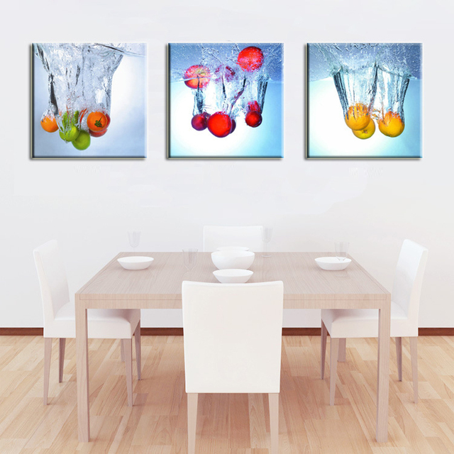 3 Panels Kitchen Fruit Decorative Canvas Abstract Painting Wall Hanging Combination Modern Picture Dinning Room Art