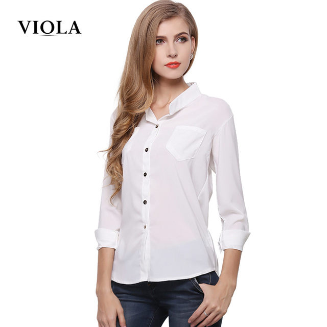 68f7da89a5adb  VIOLA  Chiffon Pocket Blouse Long Sleeve Stand Collar Shirts Loose White  Formal Work Tops 2016 Vetement Femme 1361