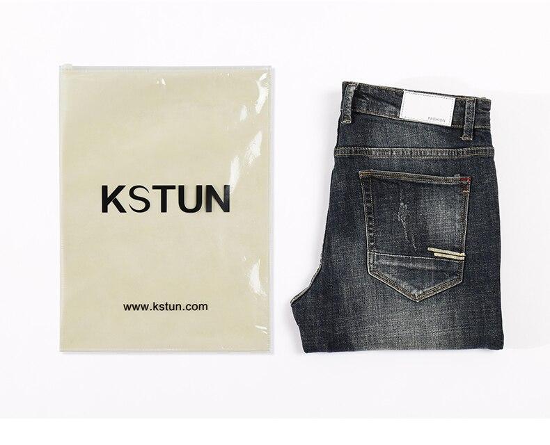KSTUN Men's Jeans Retro Blue Elasticity Slim Straight Regular Fit Vintage Leisure Motorcycle Jeans Men Denim Pants Jeans Size 40 20
