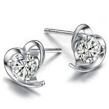 Plateado platino corazón Natural cristal joyas pendiente retro femenino Stud pendientes moda mujer pendientes