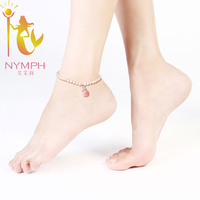 NYMPH Foot Jewelry Wedding Near Round Natural Pearl Anklets Bracelet White Fine Jewelry Natural Beads For Women NYJL100