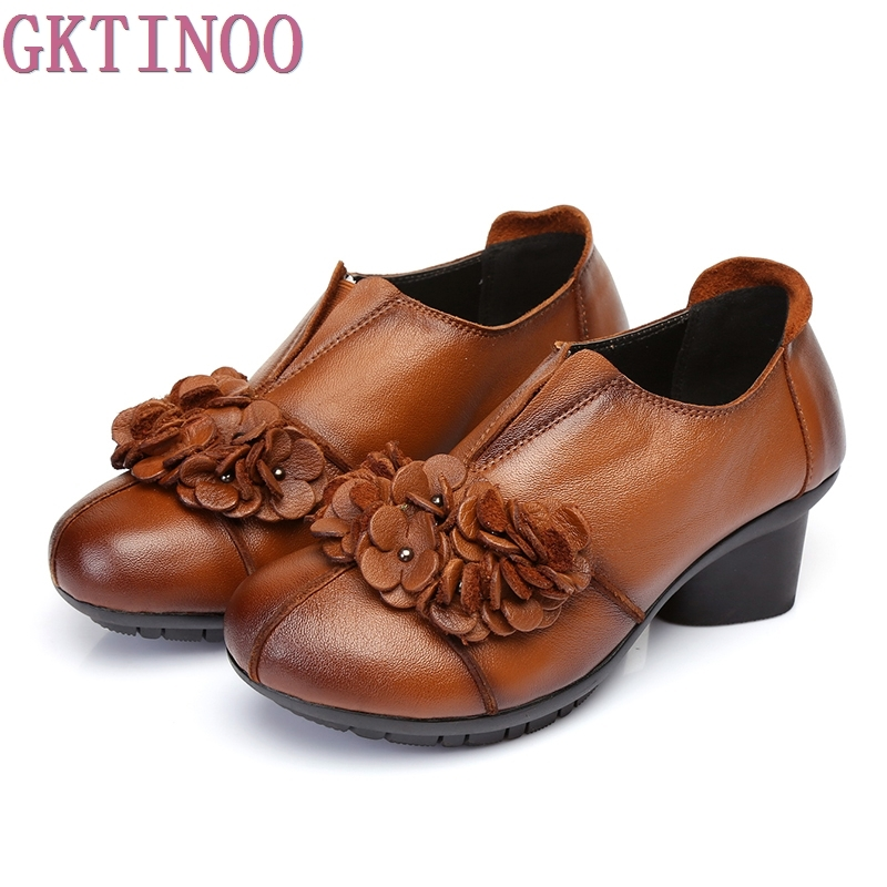 2017 Spring Autumn Woman Genuine Leather Shoes Pumps Lady Round Toe Flowers Shallow Mouth Women High
