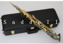 curved bell soprano Sax Saxophone Bb black nickel plated Saxe Top Musical Instrument