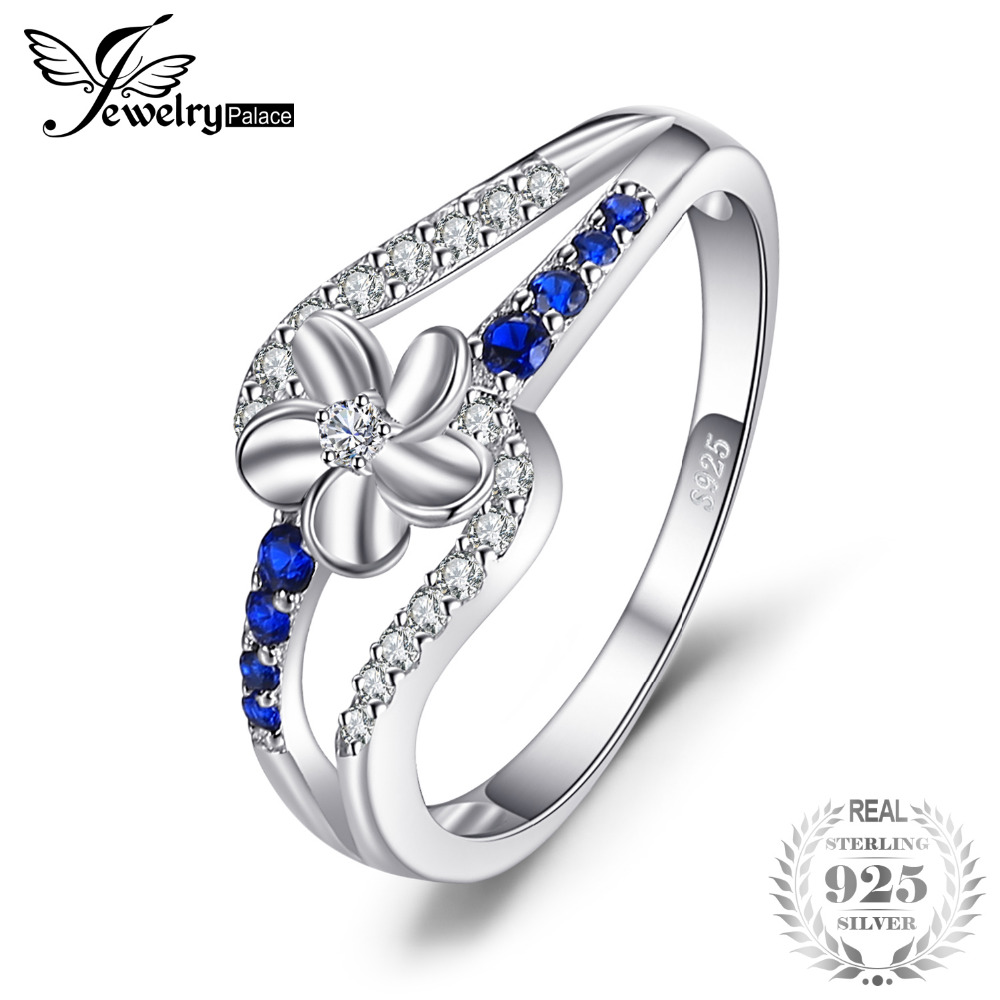 JewelryPalace 0.3ct Stimulated Sapphires Flower Ring 925 Sterling Silver Charm Fashion Jewelry New Arrival Special For Women