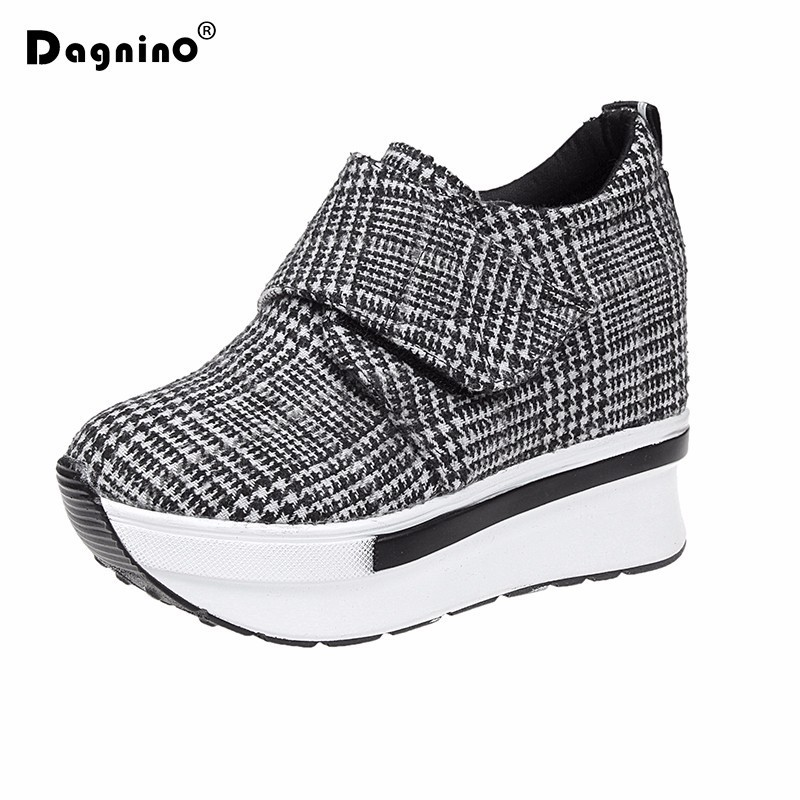 DAGNINO Summer Red Casual Shoes Hidden Heel 2018 New Platform Slip On Zip Canvas Shoes For Women Height Increasing Wedges Shoes free shipping new arrival 2017 women trendy candy colored slip on canvas shoes platform canvas casual loafers size 35 40