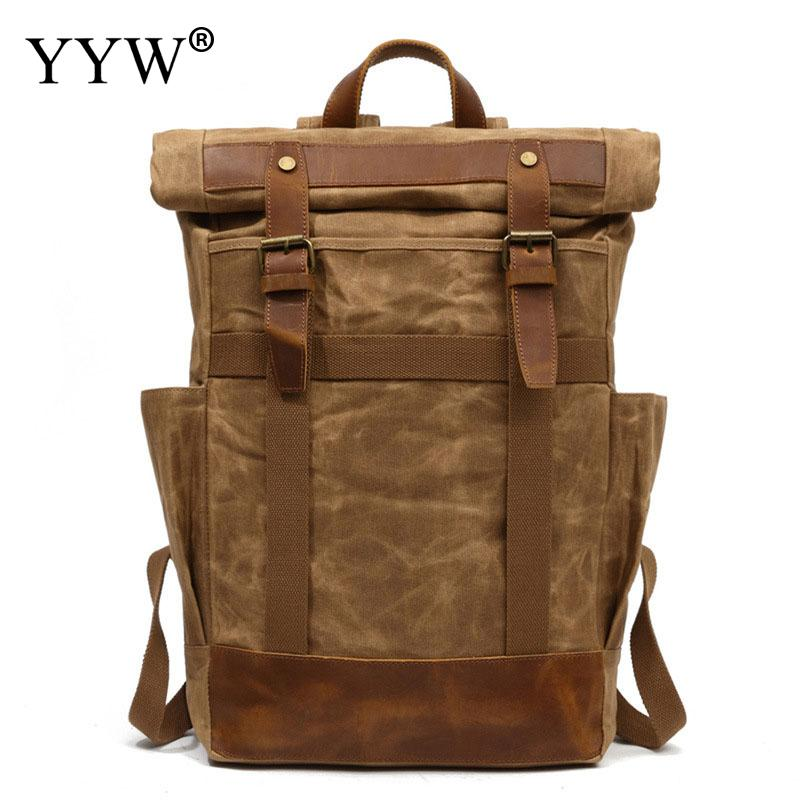 YYW 2018 Men'S Backpack Vintage Canvas Rucksack School Bag Men Travel Bags Large Capacity Travel Laptop Backpack Bag