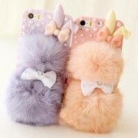 Mode Winter warme Plüsch kaninchen bälle pelz handy fall für iphone 5 5 s 6 s 4 4 s schutzhülle versandkostenfrei FC-01