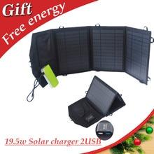 19.5 w portátil dobrável carregador de painel solar com dual usb carregador solar para iphone ipad sumsung htc sony e mais