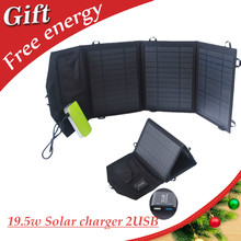19.5W Foldable Portable Solar Panel Charger with dual USB Solar Charger for iphone iPad sumsung HTC sony and More