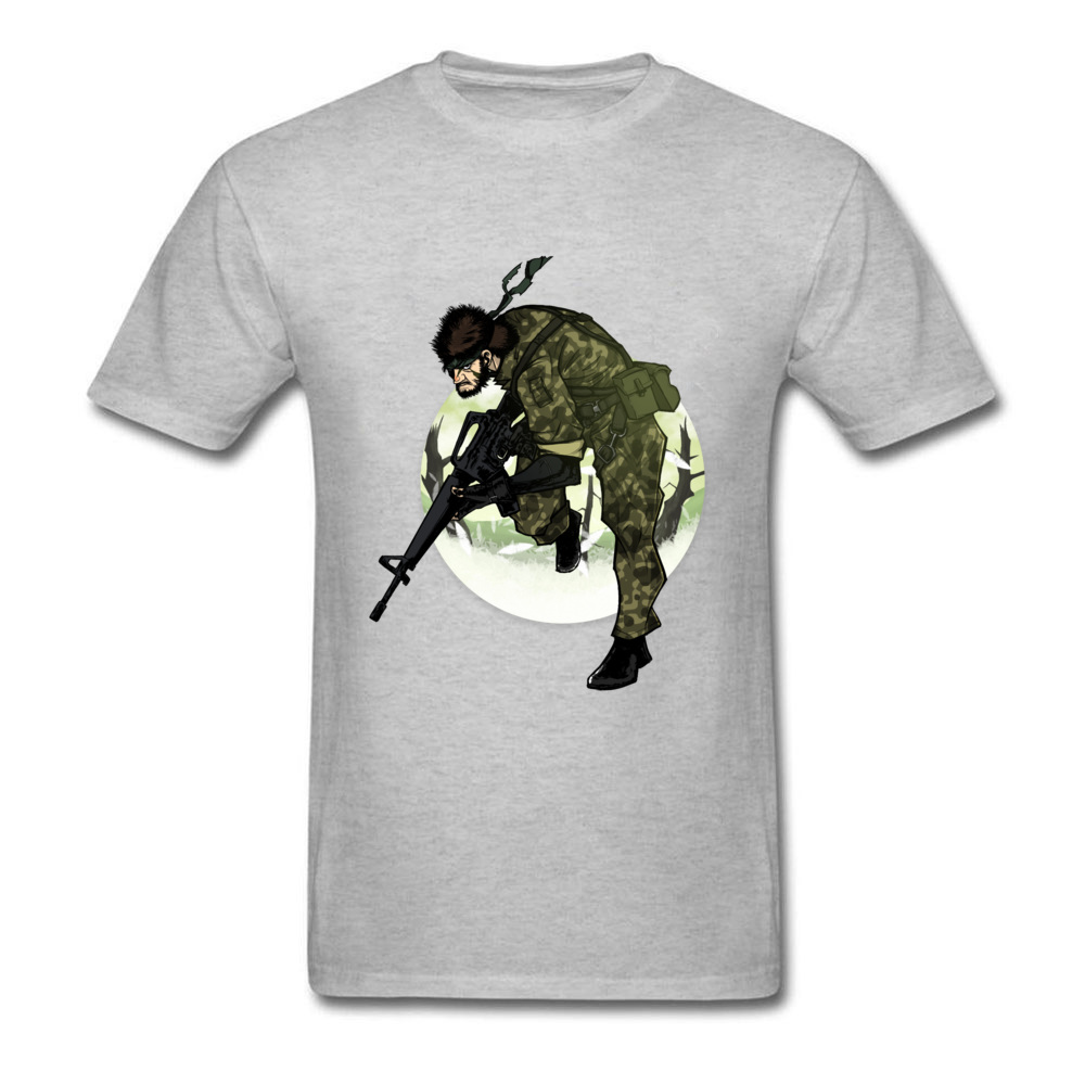 Fashion Camouflage Warrior Custom Design Men Grey Black T-shirt Cartoon Drawing Short Sleeve Cool Male Tee Shirt