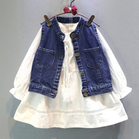 2017 Brand Kids Dress Girls Patry Dresses Cowboy Clothes Long Sleeve White Dress Jeans Vest 2PC