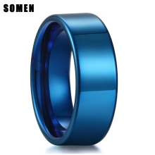 цены New Arrival 8MM Pure Blue Tungsten Carbide Ring High Polished For Men Engagement Rings Wedding Band Fashion Jewelry Anillos