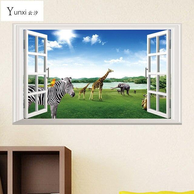 YunXi 3D Dierenparadijs Zebra Olifant Giraffe Nep Raamsticker PVC ...