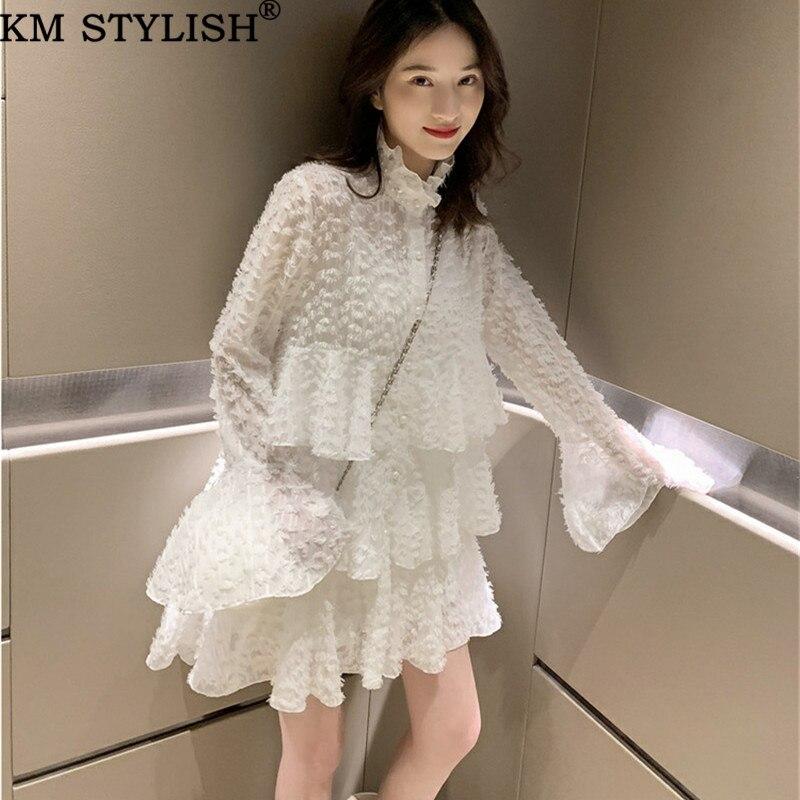 [Nouvelle vente] 2019 vêtements pour femmes Flare manches blanc maille gâteau robe fée dame Style français robe une pièce noir 2 couleurs SML