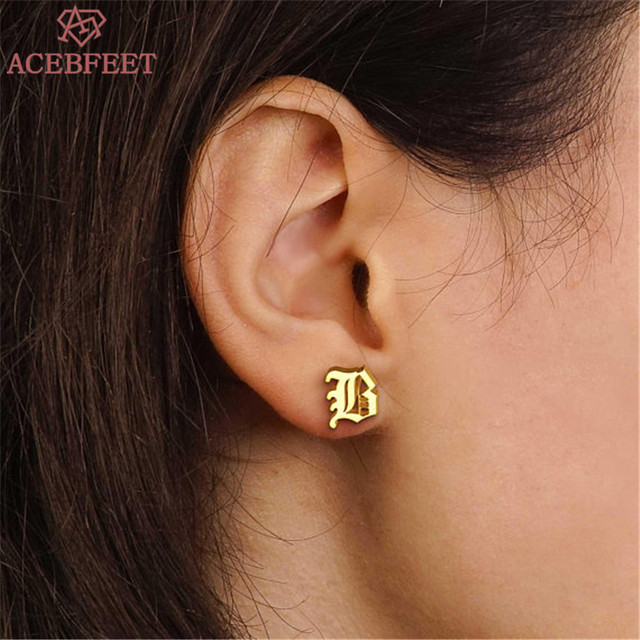 Personalized Bijoux Femme Custom Old English Initial Stud Earrings Women Christmas Gift Stainless Steel Jewelry Letter