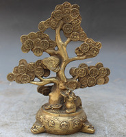 Marked Chinese Bronze Fengshui BiXie Beast Pixiu Lucky Tree Money Statue