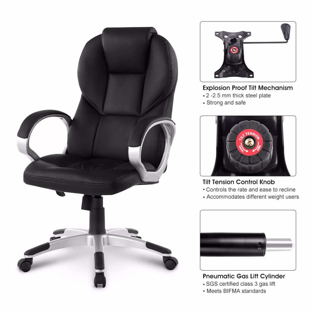Ergonomic Chair Levers Aluminum Rocking Patio Chairs Modern High Back Faux Leather Executive Office With Knee Tilt Mechanism And 360 Degree Swivel In From Furniture On