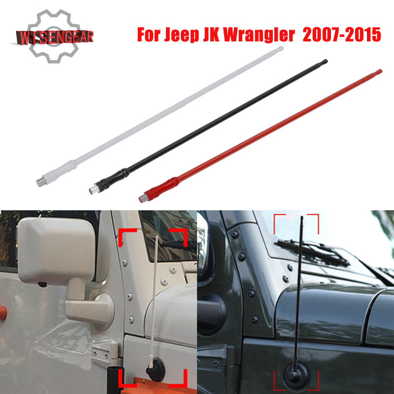 13 8mm AM FM Signal Amplifier Aerial Radio Antenna Mast For Jeep Wrangler JK Unlimited 2007 2008 - 2015 Antena Auto Roof Whip ...
