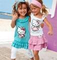 2-8Yrs Verão Olá Kitty Baby Girl Ternos de Algodão Meninas 3 Pcs Conjuntos Headband Do + Dress + Calças Roupa Das Crianças Set Moda infantil Definir 10F
