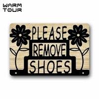 WARM TOUR Floal Please Remove Your Shoes Sign Entrance Mat Floor Mat Rug Indoor Front Door