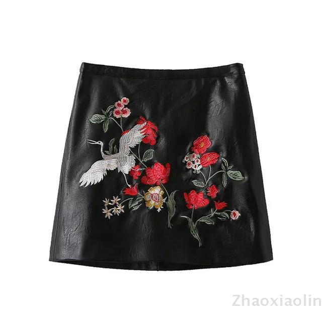 2016 autumn European and American style women high-waist embroidered PU leather skirt