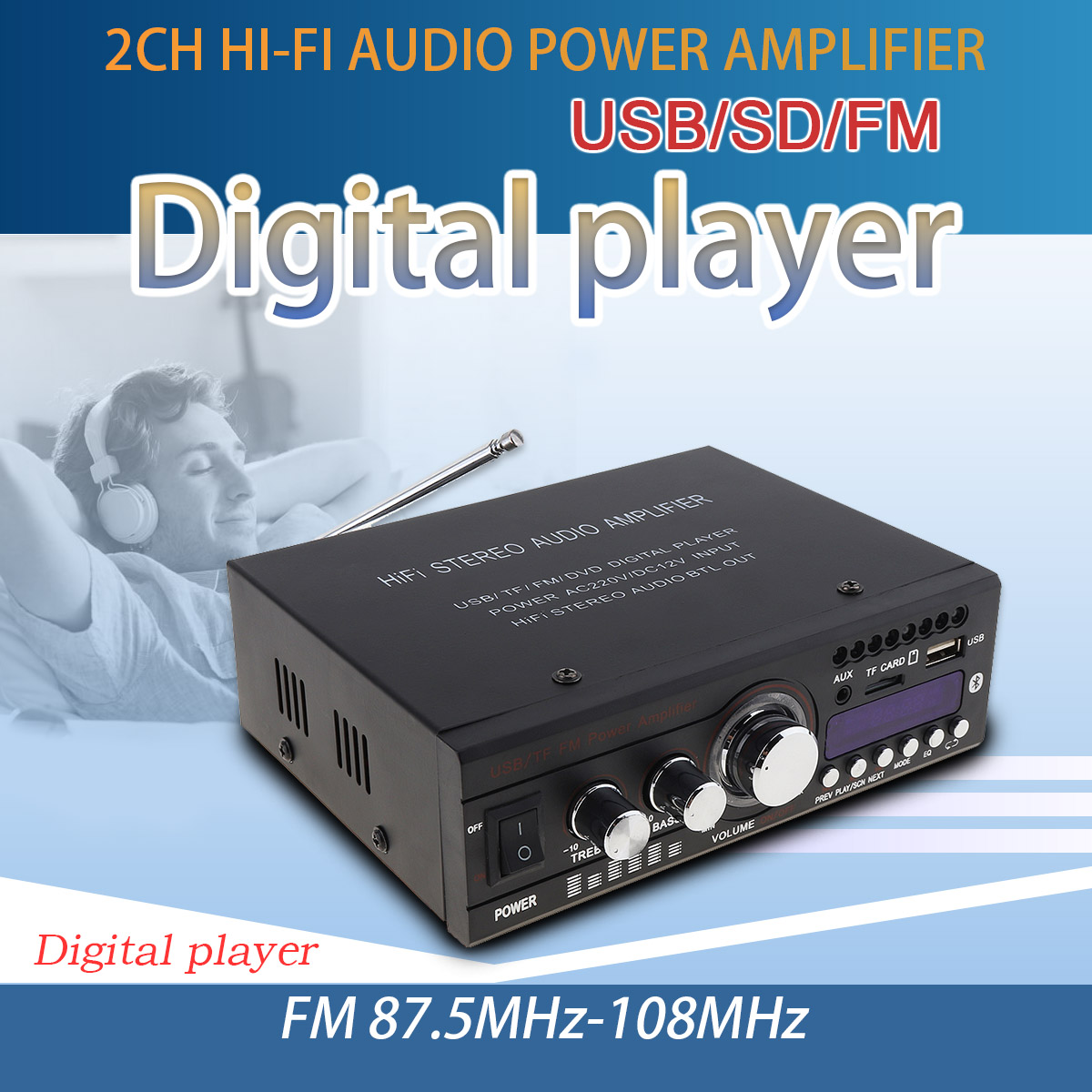 DC 12V / AC 220V Bluetooth 2CH HiFi Car Stereo Audio Power Amplifier FM Radio Auto Hi-Fi Digital Player Support USB SD FM DVD jtron ta2024 dc 12v double track 15w 15w car pc hi fi mini digital amplifier board green