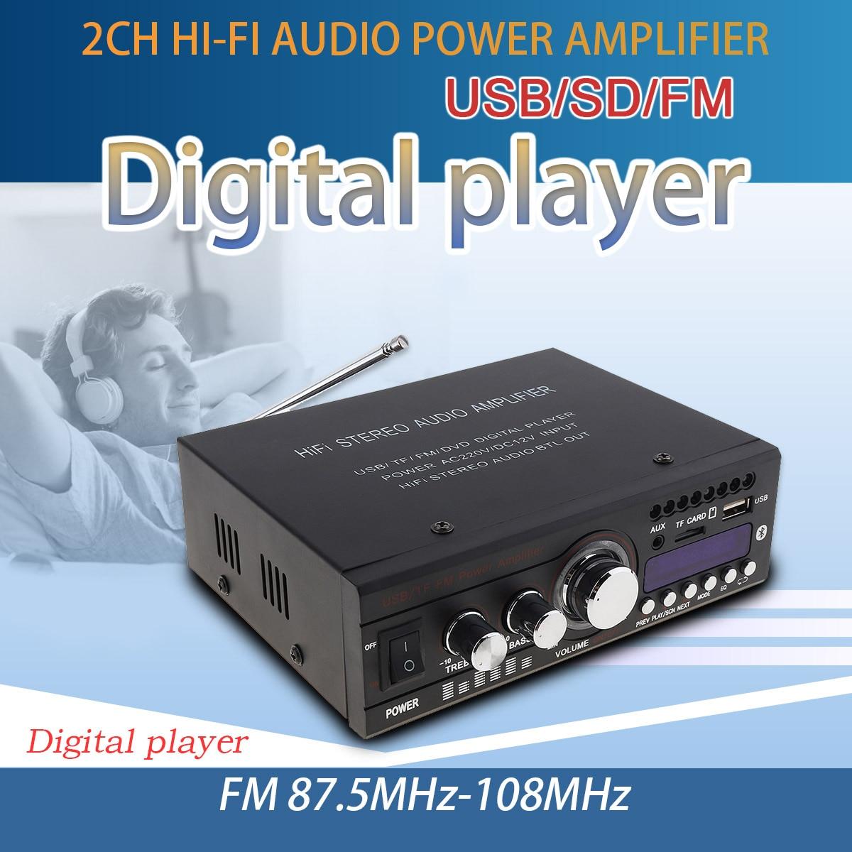 DC 12V / AC 220V Bluetooth 2CH HiFi Car Stereo Audio Power Amplifier FM Radio Auto Hi Fi Digital Player Support USB SD FM DVD