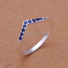 2014 Classic 925 sterling silver set several blue diamonds jewelry rings  wholesales