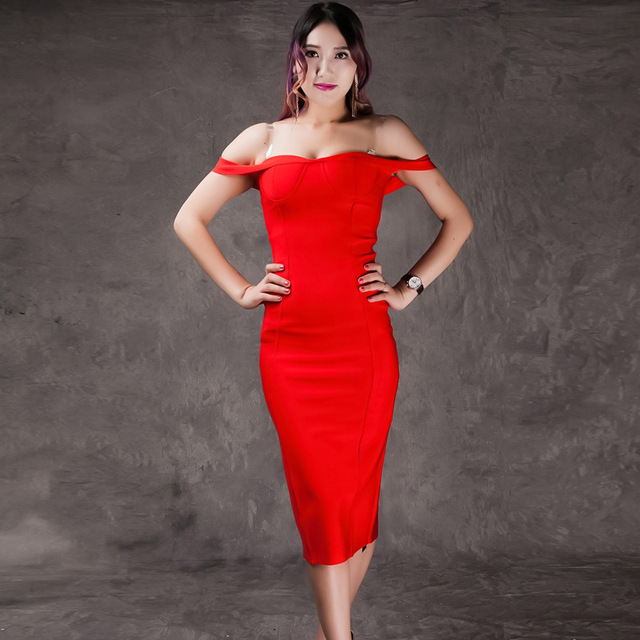 New Summer Women s Sexy Off the Shoulder Knee Length Red Nude White Bodycon  Bandage Dress Celebrity Party Dress a5b15045c10b