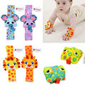 2pcs Newborn Baby Kids Animal Cartoon Wrist Strap W/ Bell Sound Bracelet