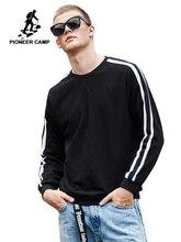 パイオニアキャンプ新到着ファッションスウェットメンズブランド服白黒ストライプパーカースウェットシャツ男性緩い綿 AWY901037