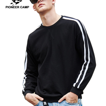 Pioneer camp new arrival fashion sweatshirt men brand clothing white black striped hoodie sweatshirt male loose cotton AWY901037(China)