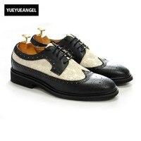 Мужские модельные туфли из натуральной кожи на шнуровке Wing Tip Для мужчин обувь вечерние свадебные мужской социальной обувь разноцветные пл