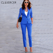 CLUXERCER Brand Womens Business Suits Two Pieces Rose Slim Blazer Set Ladies Office Wear Suit OL Formal Work Pants