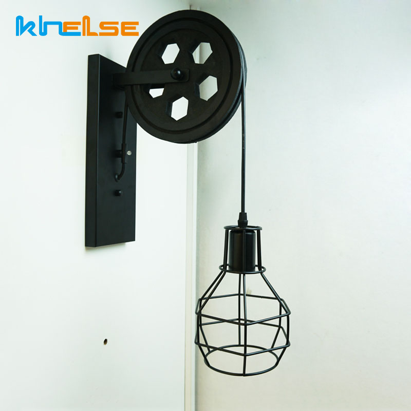 Vanity Light Fixture Loft Industrial Wall Lights Cage E27 Vintage Wall Lamp Sconce Creative Pulley Coffee Shop Club House Decor все цены
